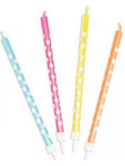 12 Candles Coloured White / Dots