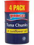 Princes Tuna Chunks In Sunflower Oil 4x160g