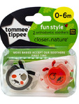 Tommee Tippee Fun Style Soothers 0-6m X2