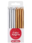 Cake Angels Birthday Candles Gold & Silver X24
