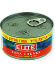 Elite Tuna Chunks In Sunflower Oil 185gr (15% Extra Free)